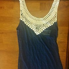 Navy Tank Top Navy tank top with lace in the front. Brand new, never been worn. Tops Tank Tops