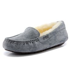 9b91e0c002b5b Womens Leather Fleece Scuffs Slippers Shoes Grey39   You can get more  details by clicking on