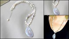 Collier en Agate grise - Perle d'eau douce - Agate Botswana : Collier par perle-de-chamane