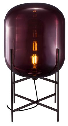 Oda Table Light In Aubergine Shade With Chrome Base
