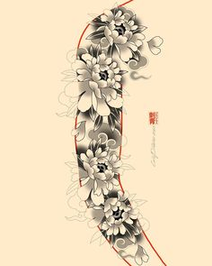 Japanese Flower Tattoo, Japanese Dragon Tattoos, Japanese Tattoo Designs, Japanese Sleeve Tattoos, Japanese Flowers, Star Sleeve Tattoo, Full Sleeve Tattoo Design, Floral Tattoo Design, Tattoo Arm