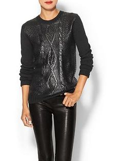Press Foiled Cable Pullover | Piperlime, size small $89