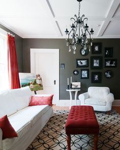 I don't know if i would go with white furniture, but i ♥ everything in this room down to the picture frames on the wall!