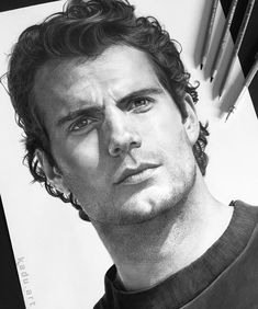 Celebrity Portrait Drawings Color and Black and White. By Eduardo Calil. Black And White Art Drawing, Black And White Face, Celebrity Drawings, Celebrity Portraits, Henry Cavill, Girl Drawing Sketches, Art Drawings, Pencil Portrait, Portrait Art