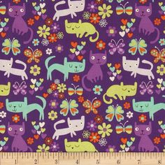 Timeless Treasures Cats Violet from @fabricdotcom  Designed for Timeless Treasures, this cotton print fabric is perfect for quilting, apparel and home decor accents. Colors include purple, lilac, lime, orange, and mint.