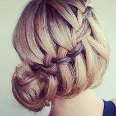 French waterfall braid to bun