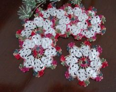 Crochet Doily, Coaster Set of 6, Christmas & Holidays Handmade Lace by PaulineAnneCrochet
