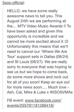 5sos post on tumblr. Why my show on 8/24 its was the Dallas show like I was looking forward to seeing them and 1D
