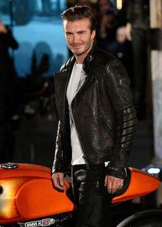 Leather Becks...helllllo!!! Gosh he's effin gorgeous!!