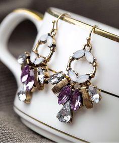 Purple Rhinestone Millicent Geometric earrings @ Shop Lately $14