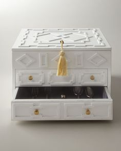 White Lacquered Flatware Chest - Neiman Marcus