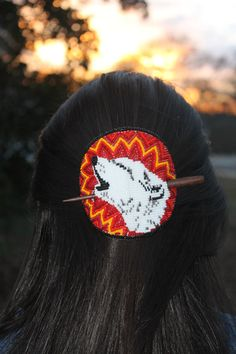 "Hand Beaded Stick Barrette ""Howling Wolf"" by Shawn Stover, Catawba Native Designs on Etsy"