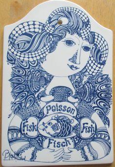 Bjorn Wiinblad Fish Woman Wall Plaque Nymolle Denmark 3005 Carving Board  #Nymolle