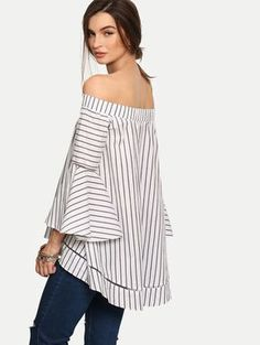 Multicolor Striped Off The Shoulder Bell Sleeve Blouse -SheIn(Sheinside) Mobile Site