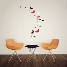 26 x Mixed Size Butterfly Vinyl Wall Art Stickers, Butterflies Wall Decals