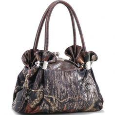 Mossy Oak ® Camouflage Satchel Bag with Croco Embossed Trim & Handles