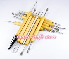 Mixed sizes wooden handle wax clay sculpture modeling Carving Modeling Tool DIY Craft 1set/lot,11pcs/set 048014023