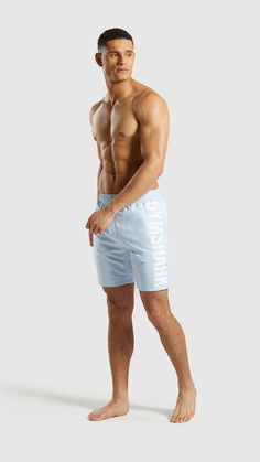 d3150da093 Gymshark Oversized Logo Board Shorts - Light Blue