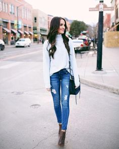 """""""casual date night downtown in the softest lightweight sweater + my favorite pair of distressed denim """" - @laurenkaysims for #LTKtakeovertuesday 