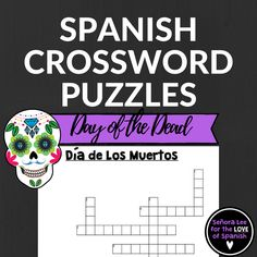 """Have fun reviewing Day of the Dead vocabulary with this Spanish """"Dia de los Muertos"""" crossword puzzle. Includes 12 clues and answer key. This activity goes well with my Day of the Dead Word Search, I Spy Game & Bingo!"""