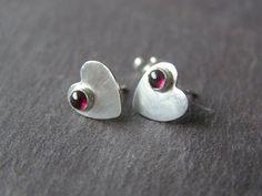Sterling Silver Heart Stud Earrings Garnet  Cabochons by crocusart, $23.00