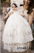 2016 Vintage baby girls Christening gowns baptism dresses for girl boys toddlers outfit half sleeves with two tiered lace(China (Mainland))