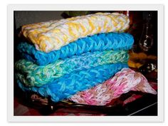 Loom Knit Dish Cloths!  Done on a long loom.  Super fast and easy!
