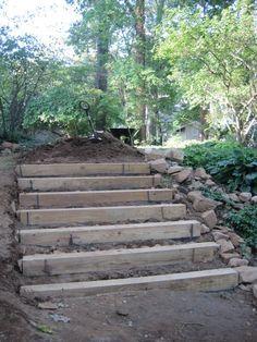 how to make hillside railroad tie landscape stairs | Railroad tie steps « Afterhood