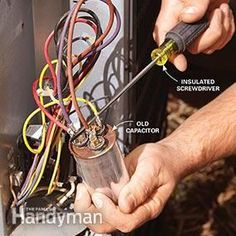 Our experts shows you easy DIY solutions for the most common central air conditioning repairs. You'll be up and running sooner and will save the expense of a service call. Refrigeration And Air Conditioning, Air Conditioning Services, Air Conditioning System, Air Conditioner Capacitor, Diy Air Conditioner, Home Electrical Wiring, Hvac Maintenance, Hvac Repair, Appliance Repair