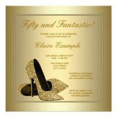 Elegant Gold High Heels Womans Gold 50th Birthday Invitations