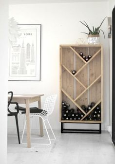 Chic DIY Wine Racks for Your Vino Collection Check out these DIY wine racks, perfect for showcasing your collection.Check out these DIY wine racks, perfect for showcasing your collection. Diy Wooden Shelves, Wine Shelves, Wooden Diy, Wine Storage, Book Storage, Marker Storage, Bookcase Shelves, Storage Room, Wine Bottle Storage Ideas