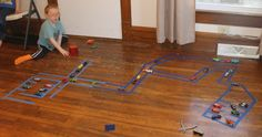 DIY Car Track with Painter's Tape. Also a quick peek at magnetic tiles.