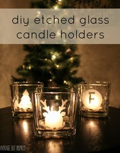 Cricut DIY etched glass candle holders are such a GREAT gift! They're easy to make and inexpensive. They can also be gifted as makeup brush holders or vases. Get the full tutorial here. Glass Votive Holders, Votive Candle Holders, Candle Jars, Glass Etching, Etched Glass, Christmas Candles, Christmas Ideas, Christmas Decorations, Christmas Gifts