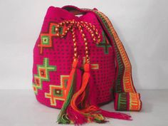 Neon Pink mochila Tribal sac Rose Sac Ethnique by PavanaFit cb066dec4e89