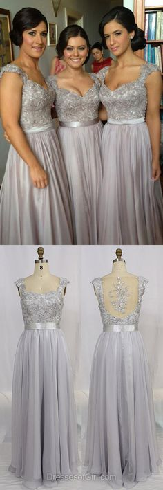 V Neck Prom Dress, Long Prom Dresses, Chiffon Evening Gowns, Open Back Party Dresses, Gray Formal Dresses