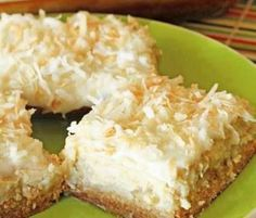 Hawaiian Cheesecake Bars call for cream cheese crushed pineapple and flaked coconut