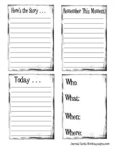 Journaling Cards- free printable