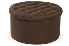 One Kings Lane - Downstairs - Jennifer Tufted Ottoman, Chocolate Tufted Ottoman, Home Furnishings, Family Room, New Homes, Brown, Kings Lane, Chocolate, Druid Hills, Furniture