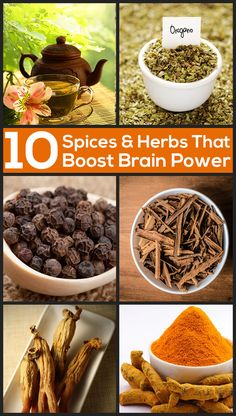 Health Fitness: Top 10 Spices Herbs That Boost Brain Power Healthy Herbs, Healthy Brain, Brain Food, Brain Health, Healthy Tips, Healthy Eating, Yoga Posen, Spices And Herbs, Herbal Medicine
