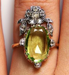 1800s Favorite ...French 3.5cttw Authentic Antique  Edwardian Peridot and Diamond Cluster Cocktail Ring in 18k gold