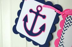 Anchor Name Banner, Girl Banner, Nautical Baby Shower, Anchor Chevron Party, Sailboat Chevron Banner, Hot Pink and Navy Blue Banner on Etsy, $19.00