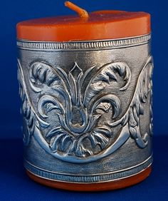 candle with pewter embossed band