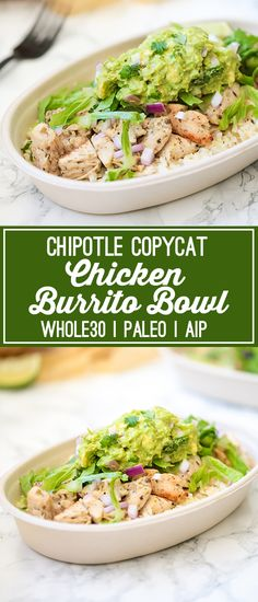 This chicken burrito bowl is the ultimate chipotle copycat! It's whole30 compliant, paleo, and AIP. #paleo #whole30 #chipotle