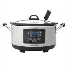 """Effortlessly prepare delicious dinners with this programmable slow cooker, featuring 3 cook settings and a digital read out for a touch of convenience.  Product: Slow cookerConstruction Material: Metal and plasticColor: Silver and blackFeatures:  6 Quart capacityThree cooking choicesThermometer probe for meat included Full-grip handles Removable interiorDimensions: 10.2"""" Hx11.7"""" DiameterCleaning and Care: Interior and lid are dishwasher safe"""
