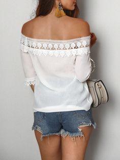 b2faf7eae6 Off Shoulder Guipure Lace Loose Blouse Tops Online Shopping, Womens Fashion  Online, Off Shoulder