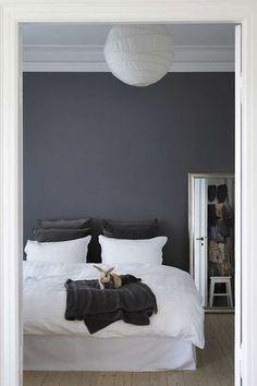a Danish bedroom. love the calming grey...