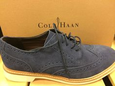 Cole Haan Foley Men's Wing Tip Oxfords Lace Up Dress Suede Shoes Navy Blue #ColeHaan #WingTip