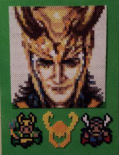 Perler Avengers Loki with helmet and Thor.