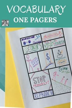 One-Pagers: Vocabulary can get boring. Keep students creatively engaged with this fun one pager vocabulary activity. They'll use their critical thinking skills to sketchnote their words and suddenly find remembering them to be much easier. Vocabulary Notebook, Teaching Vocabulary, Vocabulary Activities, Teaching Writing, Teaching Strategies, Vocabulary Words, Teaching Ideas, Middle School Teachers, New Teachers