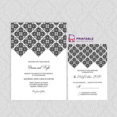 FREE PDF - Geometric Diamond Border Invitation and RSVP Set - Easy to edit and print wedding invitation templates with free fonts